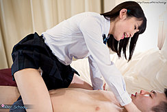 Sitting Astride Tutor On Bed Wearing Her Uniform