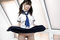 Lifting uniform skirt in pigtails teen Japanese girl Shizuku stripping kogal uniform baring trimmed pussy