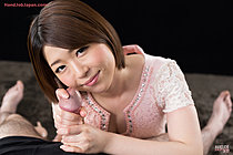 Short Haired Kurihara Aoi Giving Big Cock Handjob Tasting Cum