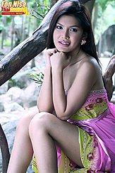 Sitting On Wooden Steps Wearing Dress Nice Legs