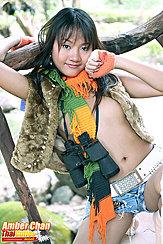 Wearing Jacket In Denim Shorts Binoculars Around Her Neck Wearing Scarf