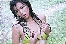 Kee Onnapha Strips Bikini Under Sprinkler Revealing Hairy Pussy
