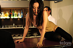 Sitting Naked On Bar Long Hair Black Stockings