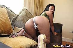 Joanna On All Fours On Couch Looking Over Her Shoulder